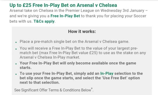 Bet365 free in-play bet offer