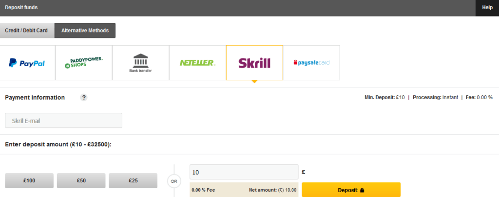 Screenshot of Skrill ewallet deposit at Betfair exchange. Using Skrill for matched betting.