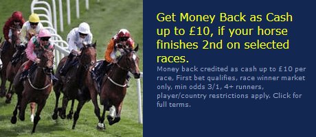 Screenshot of William Hill racing refund if 2nd