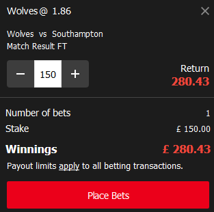 Screenshot of Wolves vs Southampton - Mansionbet betting slip